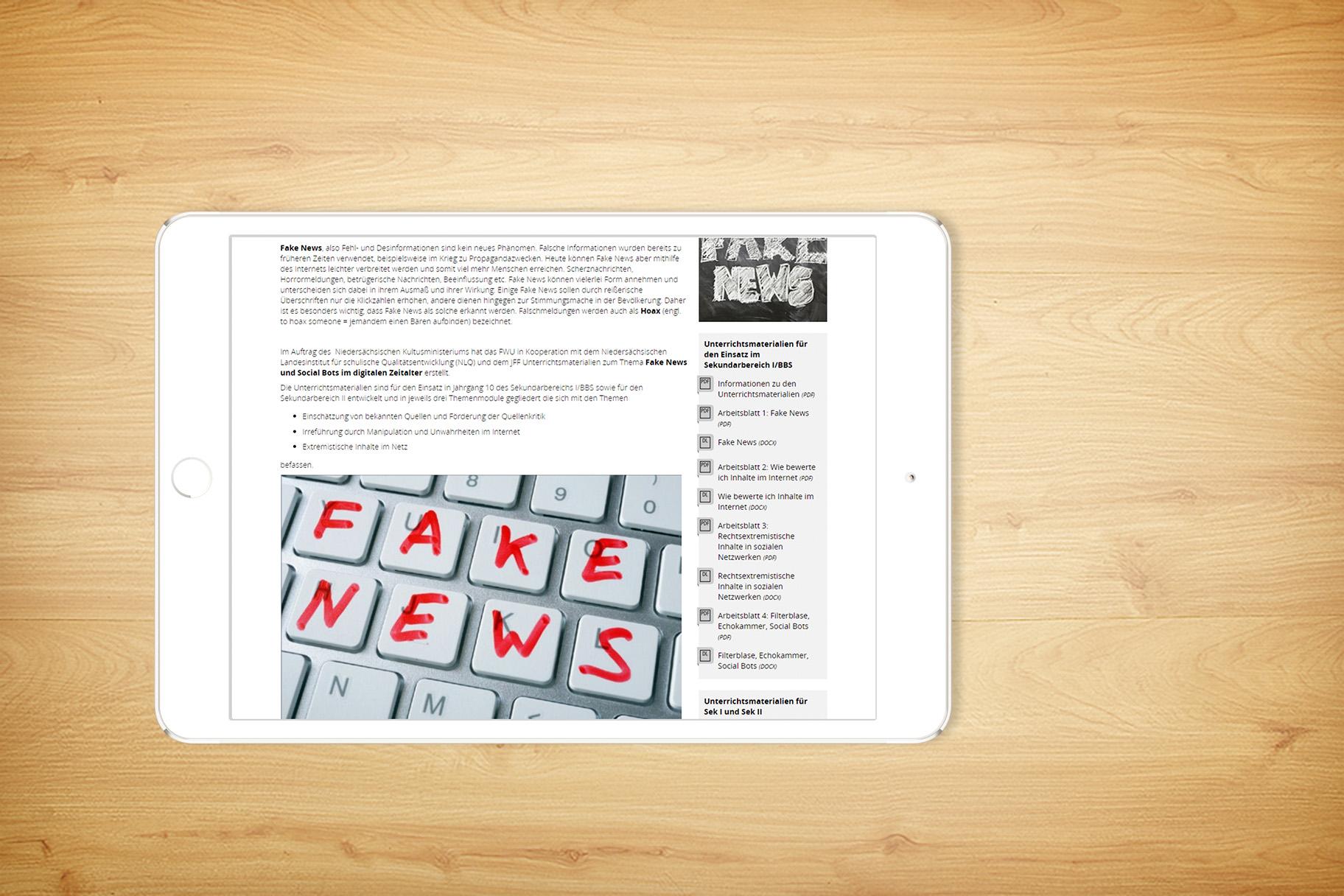Unterrichtseinheiten zu Fake News und Social Bots im digitalen ...