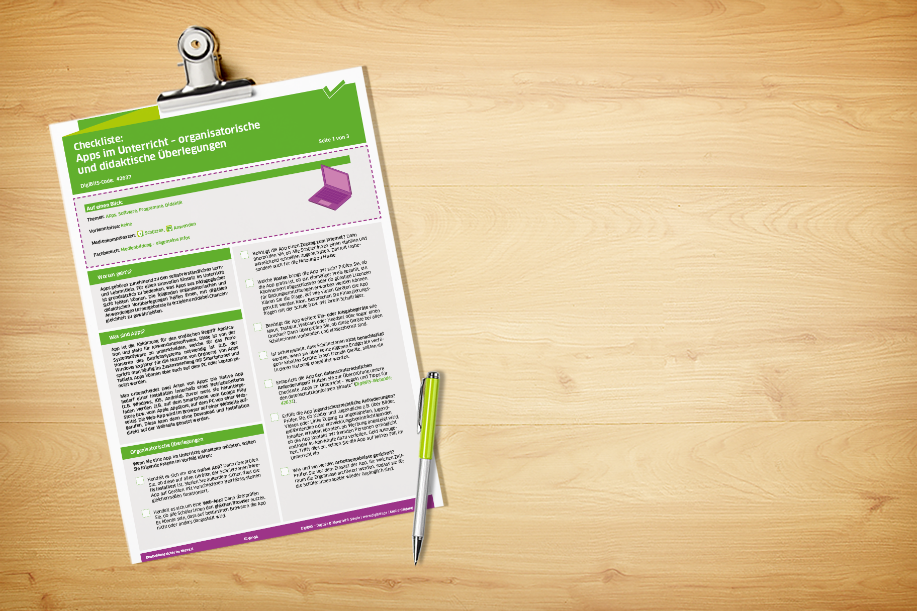 """DigiBitS Checkliste """"Apps im Unterricht - organisatorische und didaktische Überlegungen"""""""
